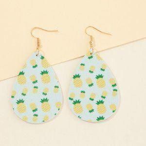 Jewelry - Trendy Pineapple Print  PU Leather Earrings